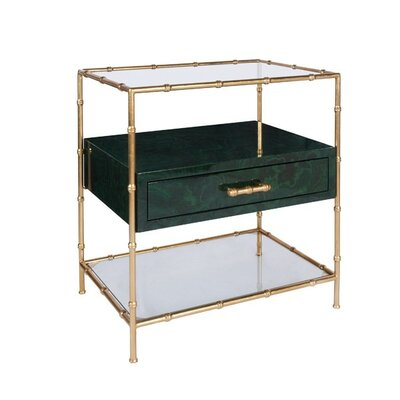 Bamboo Frame End Table Color: Nickel/Malachite