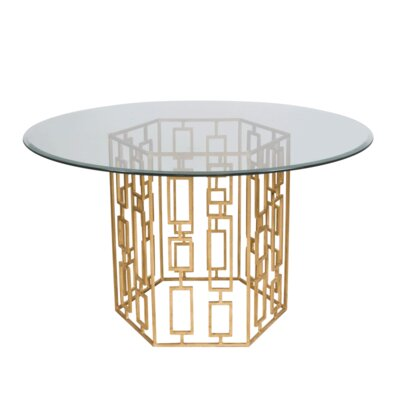 Dining Table with Glass Top Finish: Gold Leaf, Size: 30 H x 48 W x 48 D