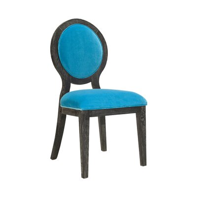 Oval Upholstered Dining Chair Upholstery Color: Turquoise Velvet, Frame Color: Black Cerused