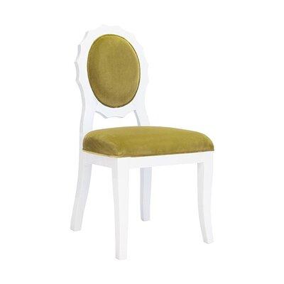 Scallop Side Chair Upholstery: Lime Green Velvet