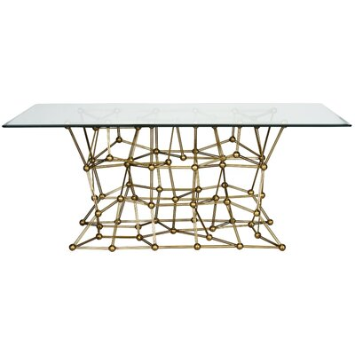 Iron Dining Table with Glass Top Finish: Gold Leaf