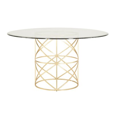 X Motif Dining Table with Glass Top Finish: Gold Leaf, Size: 29.5 H x 48 W x 48 D