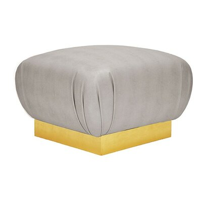 Ottoman Upholstery: Gray, Finish: Gold Leaf