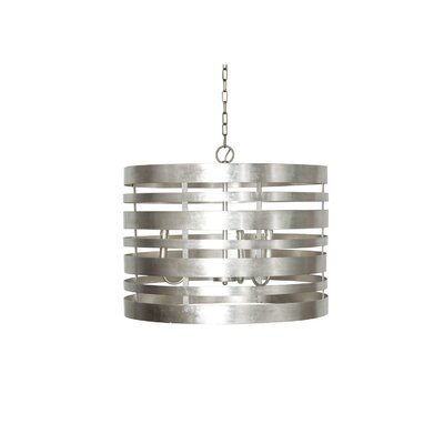 Striped Metal 3-Light Drum Pendant Finish: Silver