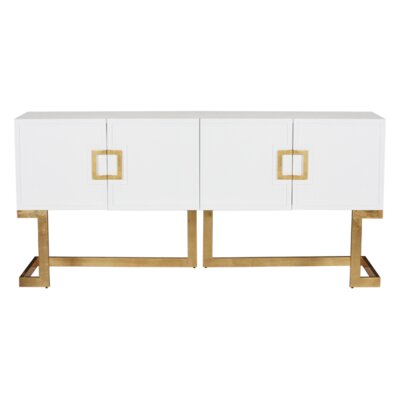 Media Console Table Finish: White Lacquer/Gold Leaf