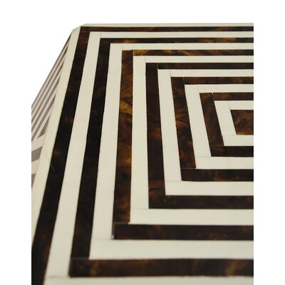 Geometric Bone End Table Color: Brown/White
