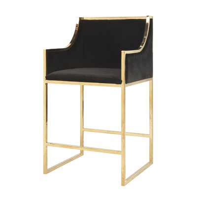 25.5 Bar Stool Base Color: Brass, Upholstery: Velvet-Black