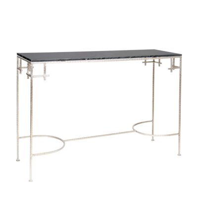 Hammered Console Table Finish: Black Marble/Silver