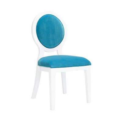 Oval Upholstered Dining Chair Upholstery Color: Turquoise Velvet, Frame Color: White Lacquer