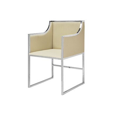 Upholstered Dining Chair Frame Color: Nickel, Upholstery Color: Herringbone