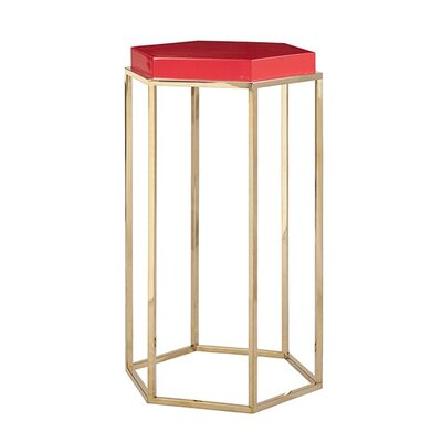 Elsa Hexagonal Occasional Table Finish: Red Lacquer/Brass