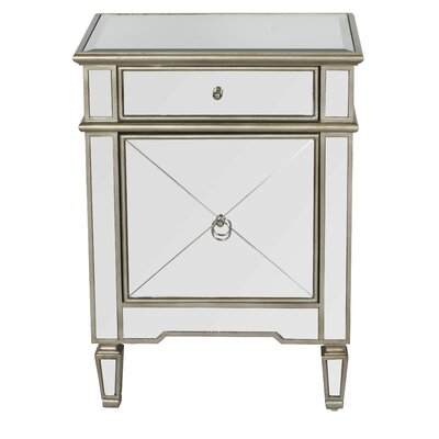 Mirrored 1 Drawer Nightstand Color: Painted Silver