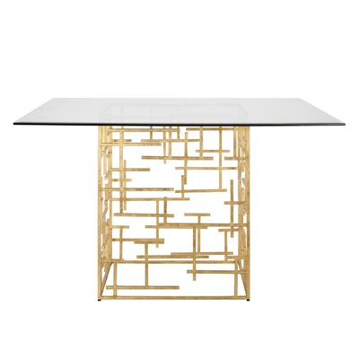 Abstract Dining Table with Glass Top Finish: Gold Leaf, Size: 29.5 H x 54 W x 54 D