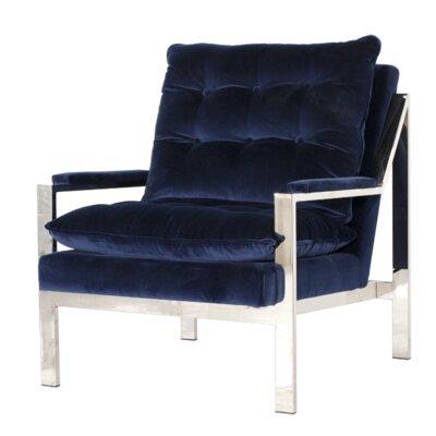 Arm Chair Finish: Nickel Plated, Upholstery: Navy Velvet