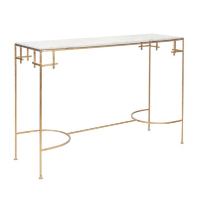 Hammered Console Table Finish: White Marble/Gold