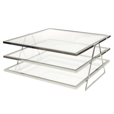3 Tier Coffee Table with Magazine Rack Finish: Silver