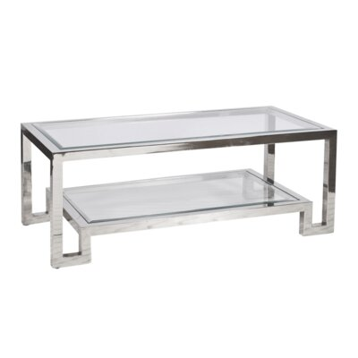 2 Tier Coffee Table with Magazine Rack Finish: Polished Stainless Steel
