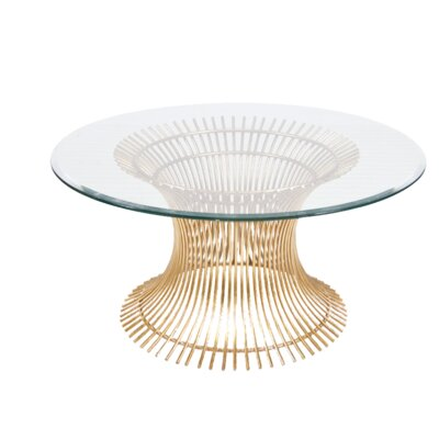 Coffee Table Size: 18 H x 42 W x 42 D, Base Color: Gold Leaf