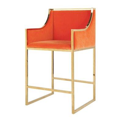 25.5 Bar Stool Base Color: Brass, Upholstery: Velvet-Orange
