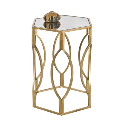 Hexagonal End Table Color: Gold