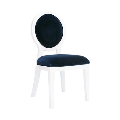 Oval Upholstered Dining Chair Upholstery Color: Navy Velvet, Frame Color: White Lacquer
