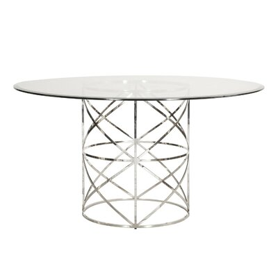 X Motif Dining Table with Glass Top Finish: Nickel, Size: 29.5
