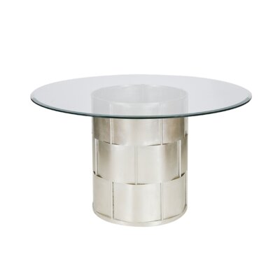 Basketweave Dining Table with Glass Top Finish: Silver Leaf, Size: 30 H x 48 W x 48 D