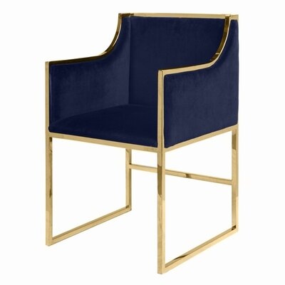 Upholstered Dining Chair Upholstery Color: Navy Velvet, Frame Color: Brass
