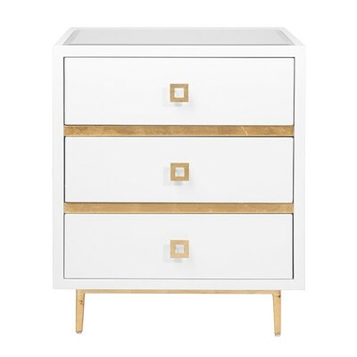 3 Drawer End Table Finish: White Lacquer/Gold Leaf