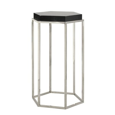 Elsa Hexagonal Occasional Table Finish: Black Lacquer/Nickel