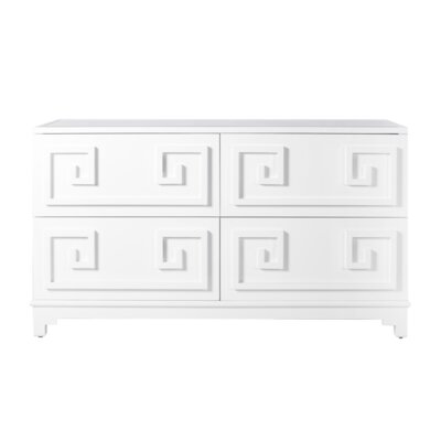 4 Drawer Double Dresser Color: White Lacquer
