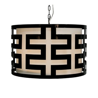 Greek Key 3-Light Drum Pendant Finish: Black Powder Coat