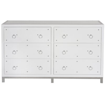 6 Drawer Buffet Table Color: White Lacquer