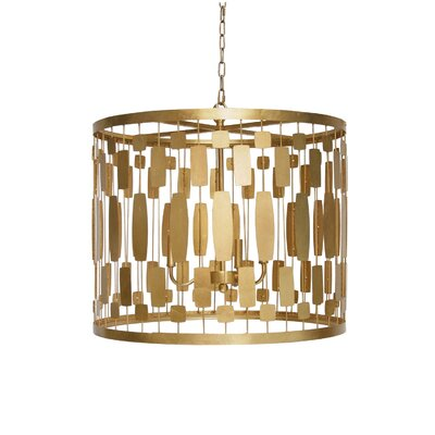 Wire 3-Light Drum Pendant Finish: Gold