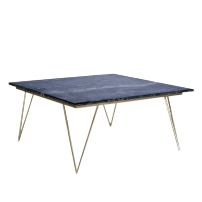 Coffee Table Base Color: Silver, Top Color: Black Marble