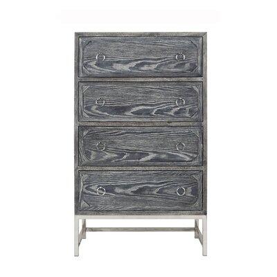Upright 4 Drawer Dresser Color (Base/Top): Black Cerused Oak/Nickel