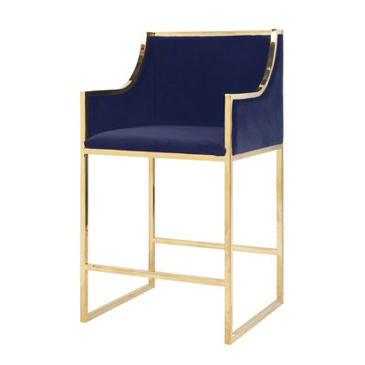 25.5 Bar Stool Base Color: Brass, Upholstery: Velvet-Navy