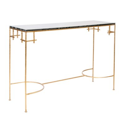 Hammered Console Table Finish: Black Marble/Gold