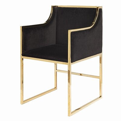 Upholstered Dining Chair Upholstery Color: Black Velvet, Frame Color: Brass