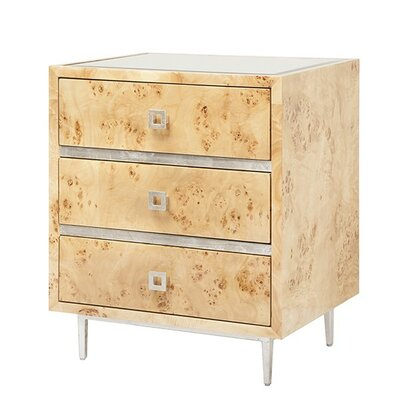 3 Drawer End Table Color: Burl Wood/Silver Leaf