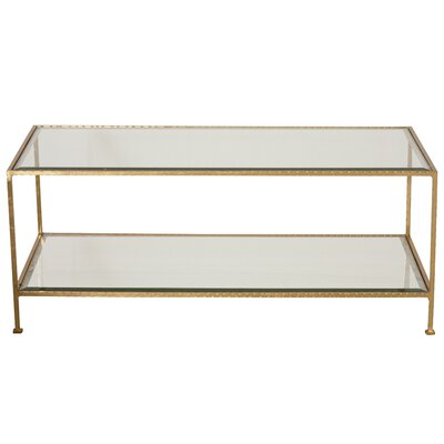 Coffee Table with Magazine Rack Finish: Hammered Gold Leaf