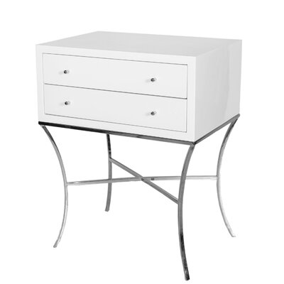 2 Drawer End Table Color: Nickel