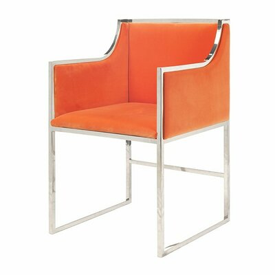 Upholstered Dining Chair Frame Color: Nickel, Upholstery Color: Orange Velvet