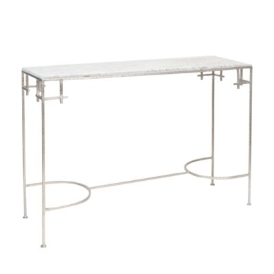 Hammered Console Table Finish: White Marble/Silver