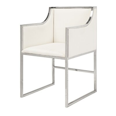 Upholstered Dining Chair Upholstery Color: White Linen, Frame Color: Nickel