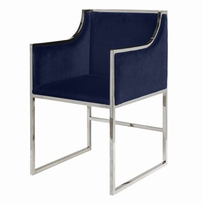 Upholstered Dining Chair Upholstery Color: Navy Velvet, Frame Color: Nickel