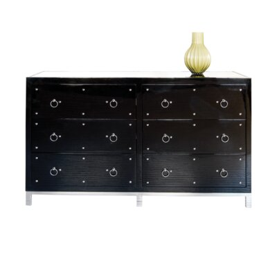 6 Drawer Buffet Table Color: Black Lacquer