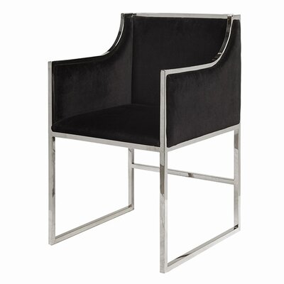 Upholstered Dining Chair Upholstery Color: Black Velvet, Frame Color: Nickel