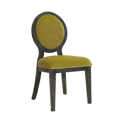 Oval Upholstered Dining Chair Upholstery Color: Lime Green Velvet, Frame Color: Black Cerused
