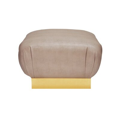 Ottoman Finish: Gold Leaf, Upholstery: Brown